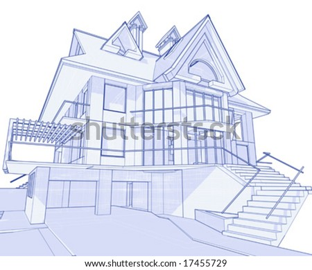 3d blueprint house vector technical draw - How To Draw A Blueprint For A House