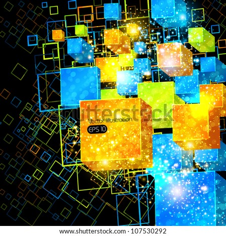 3d box abstract decorative background, easy editable - stock vector