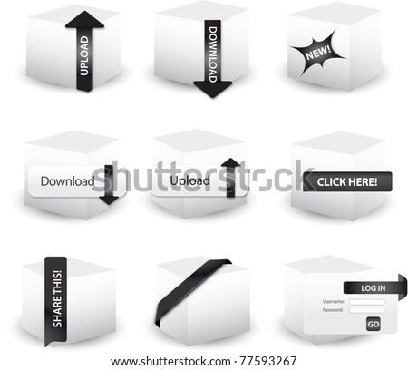 3D box icons - Pathmaster series - stock vector