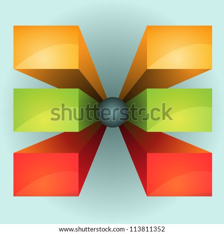 3d boxes - stock vector