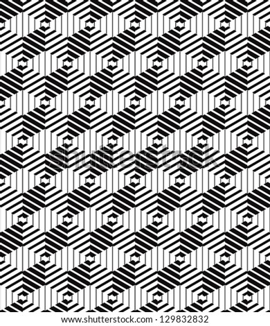 3d boxes geometric optical seamless pattern, black and white vector background. - stock vector