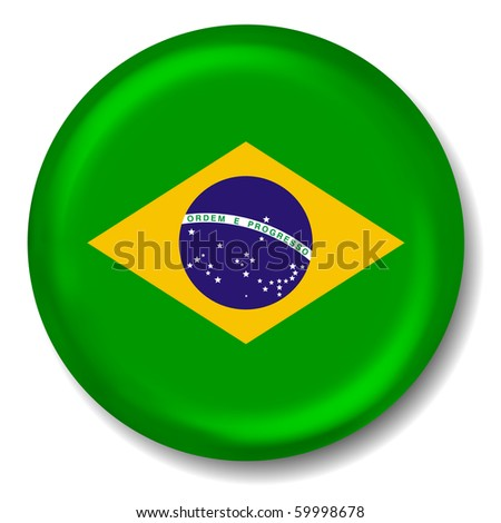 3D Brazil Flag Button - stock vector