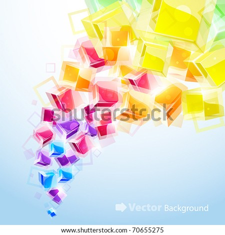 3d bright abstract background with transparent cubes - vector illustration - stock vector