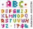 3d bright vector pixel alphabet - stock photo
