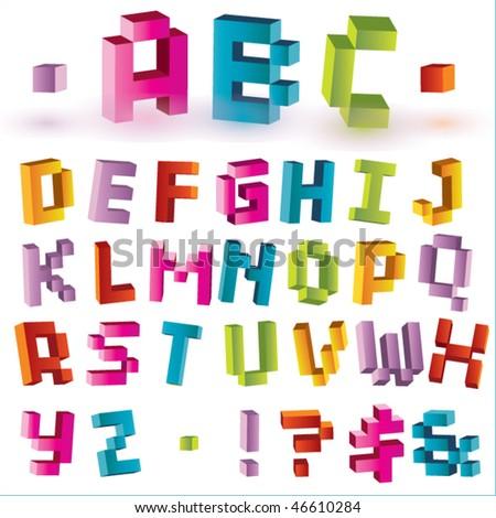 3d bright vector pixel alphabet - stock vector