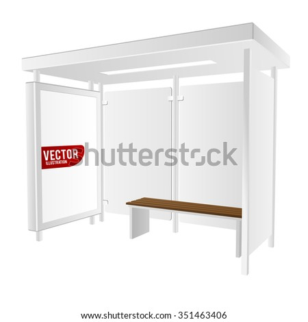 3d bus shelter with ad lightbox and bench. isolated on white. Vector illustration - stock vector