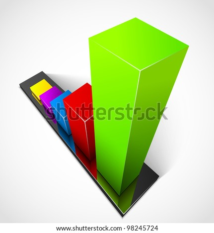 3d business colorful graphs - stock vector
