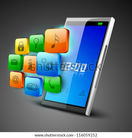 3D Business concept with web icons on tablet screen. EPS 10. - stock vector
