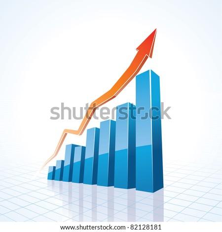 3d business growth bar graph - stock vector