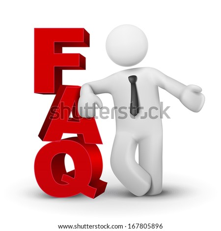3d business man presenting word FAQ isolated white background - stock vector
