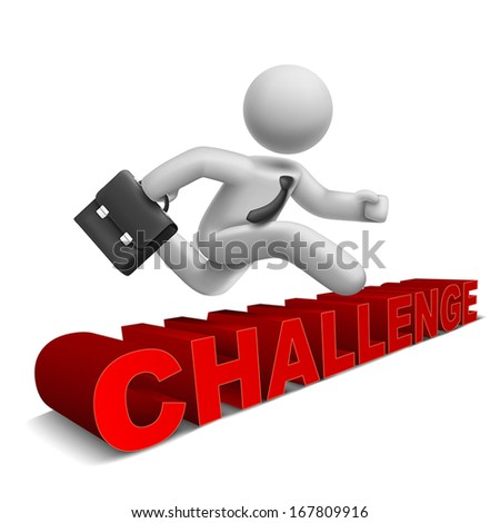 3d businessman jumping over 'challenge' word with white background - stock vector