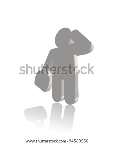 3d businessman with case thinking. Vector - stock vector