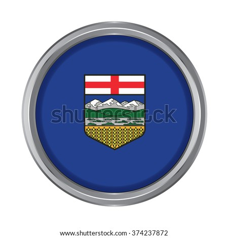 3D button Flag of Alberta Province or territory of Canada. Vector illustration. - stock vector