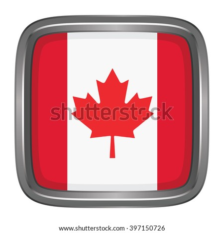 3D button Flag of Canada. Vector illustration. - stock vector