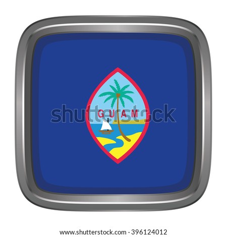 3D Button Flag Of Guam Vector Illustration