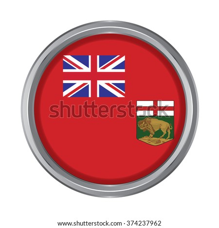3D button Flag of Manitoba Province or territory of Canada. Vector illustration. - stock vector