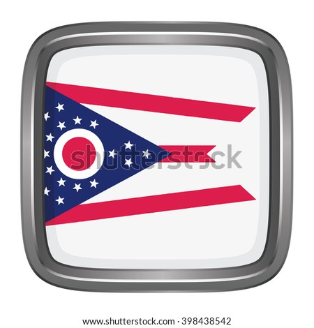 3D button Flag of Ohio state of the United States. Vector illustration.