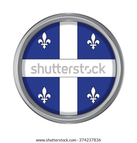 3D button Flag of Quebec Province or territory of Canada. Vector illustration. - stock vector