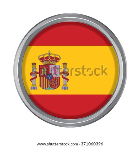 3D button Flag of Spain. Vector illustration.