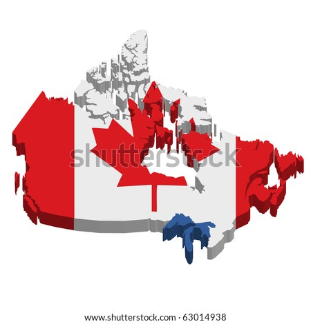 3D Canada map with flag (eps10 vector) - stock vector