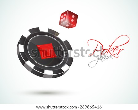 3D Casino chip with red dice for Poker Game on shiny background. - stock vector