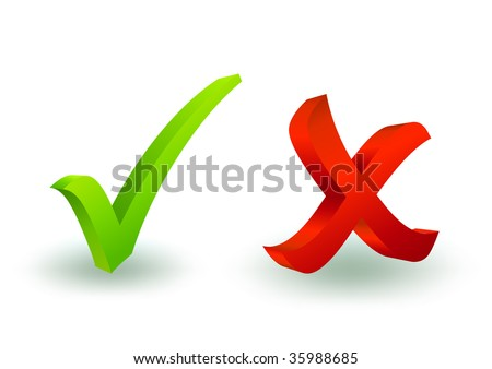 3d check and x symbol - stock vector