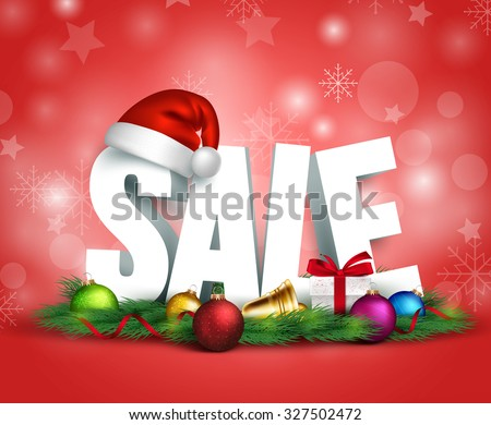 3D Christmas Sale Text for Promotion with a Christmas hat  and Decorations in Red Background. Realistic Vector Illustration  - stock vector