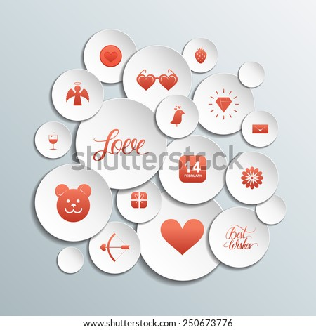 3d Circles with red valentines icons on gray background. - stock vector