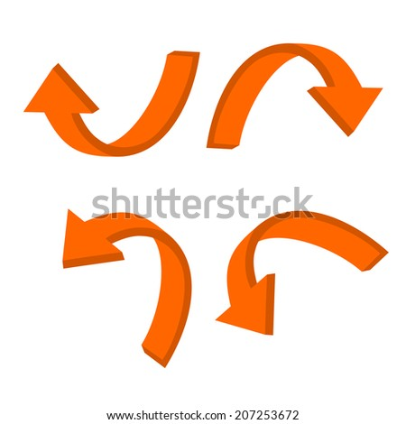 3D circular orange arrow - stock vector
