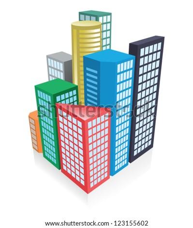 3d city concept - stock vector