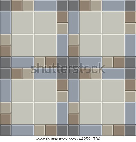 3D clay pavement pattern texture tile of walkway, sidewalk, pathway, vector design