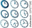 3d clocks, third dimension time clocks - stock photo