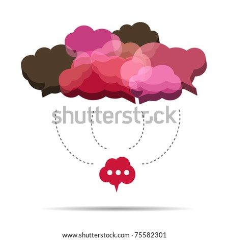 3D cloud speech bubbles are connecting - stock vector