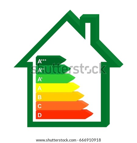 3D Color Icon Energy Class Home In A Green House. Graph Saving And Energy  Consumption
