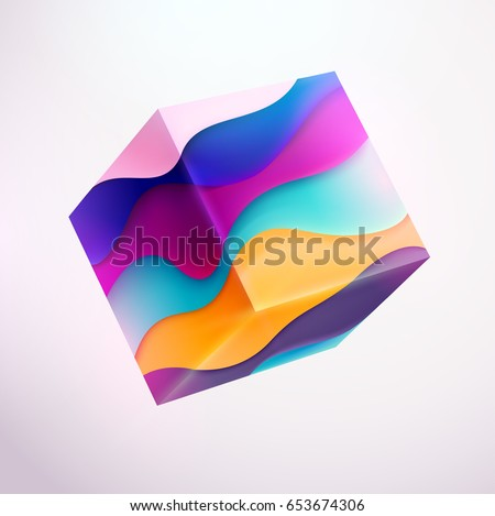 3D colored striped cube