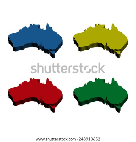 3D Colorful Australia Maps - stock vector