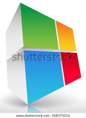 3d Colorful cube element - stock vector