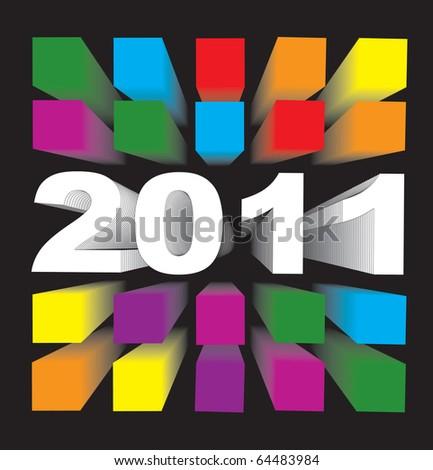 2011 3D colorful cubes against black background, vector illustration, eps 10 - stock vector
