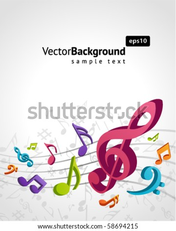 3d colorful music background - stock vector
