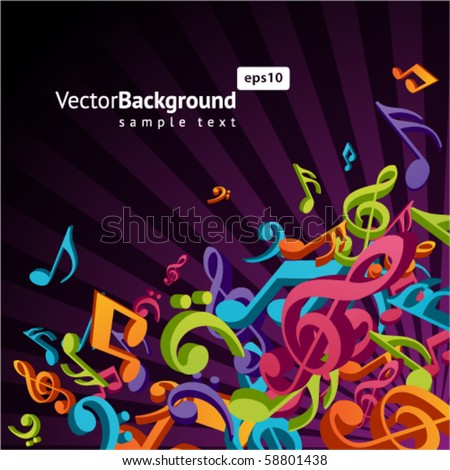 3d colorful music background with fly notes - stock vector