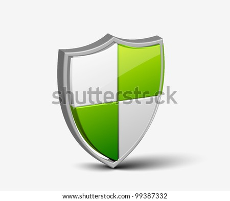 3d colorful Protection shield vector design. - stock vector