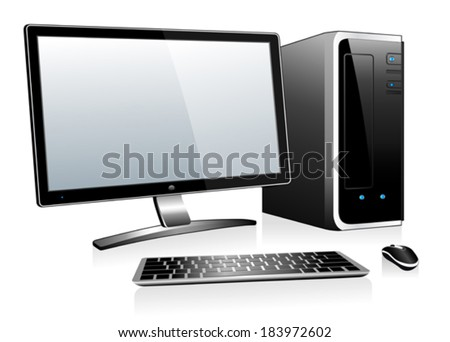 3D Computer with Monitor Keyboard and Mouse - stock vector