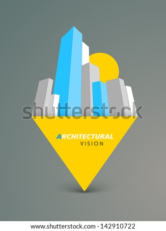 3D concept of building construction, architecture modern city designing concept. - stock vector