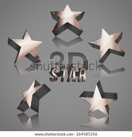 3d copper dark star set - stock vector