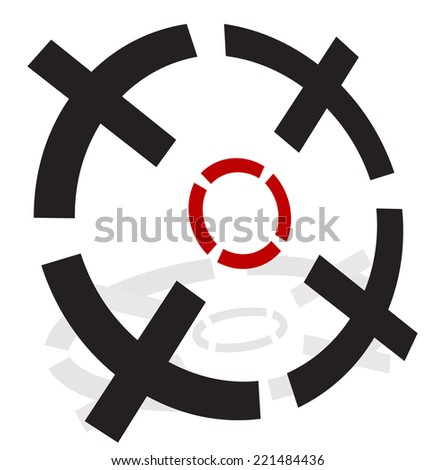 3d Crosshairs, reticle - stock vector