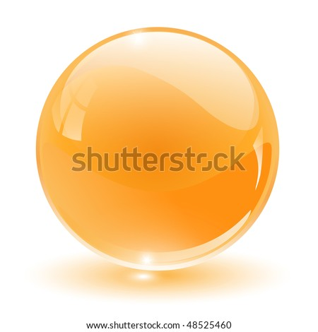 3D crystal, glass sphere, vector illustration. - stock vector