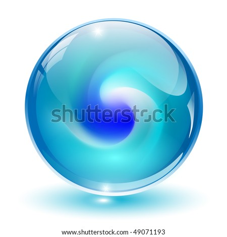 3D crystal, glass sphere with abstract shape inside, vector illustration. - stock vector