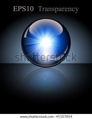 3d crystal globe. Lightning inside. Vector illustration - stock vector