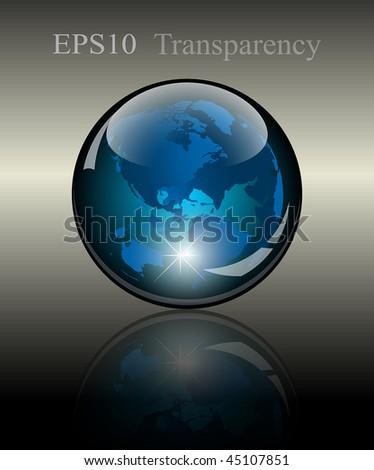 3d crystal globe. World map inside. Vector illustration - stock vector