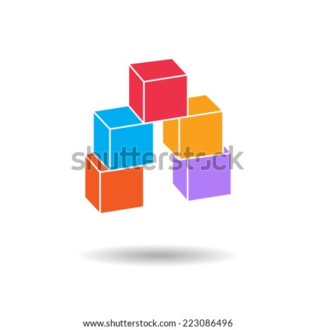 3d cube colored icon. Geometric symbol with shadow.  cube composition. Vector isolated. 10 eps